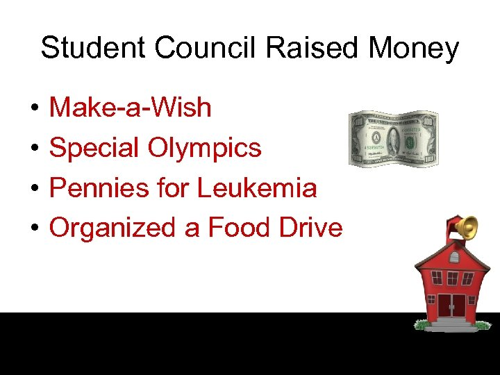 Student Council Raised Money • • Make-a-Wish Special Olympics Pennies for Leukemia Organized a