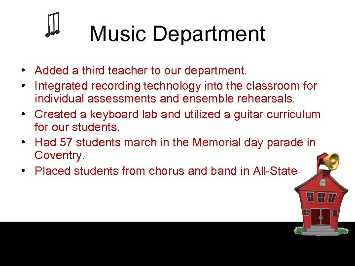 Music Department • Added a third teacher to our department. • Integrated recording technology