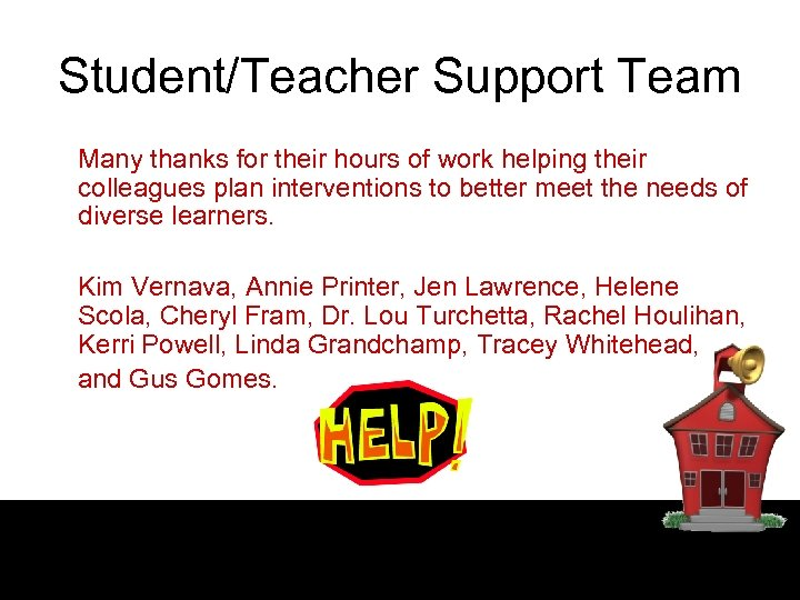 Student/Teacher Support Team Many thanks for their hours of work helping their colleagues plan