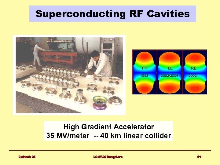 Superconducting RF Cavities High Gradient Accelerator 35 MV/meter -- 40 km linear collider 9