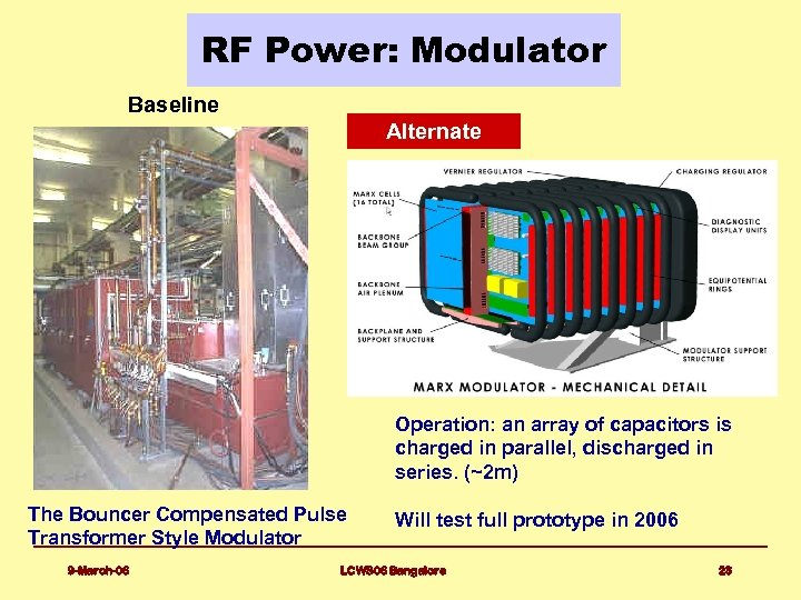 RF Power: Modulator Baseline Alternate Operation: an array of capacitors is charged in parallel,