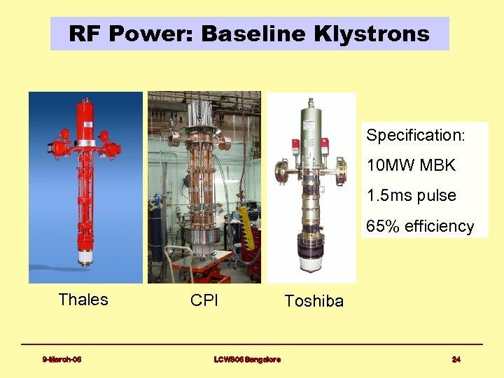RF Power: Baseline Klystrons Specification: 10 MW MBK 1. 5 ms pulse 65% efficiency