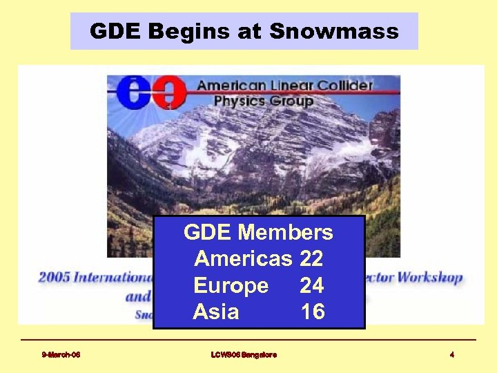 GDE Begins at Snowmass GDE Members Americas 22 Europe 24 Asia 16 9 -March-06