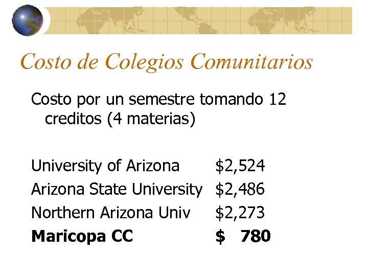 Costo de Colegios Comunitarios Costo por un semestre tomando 12 creditos (4 materias) University