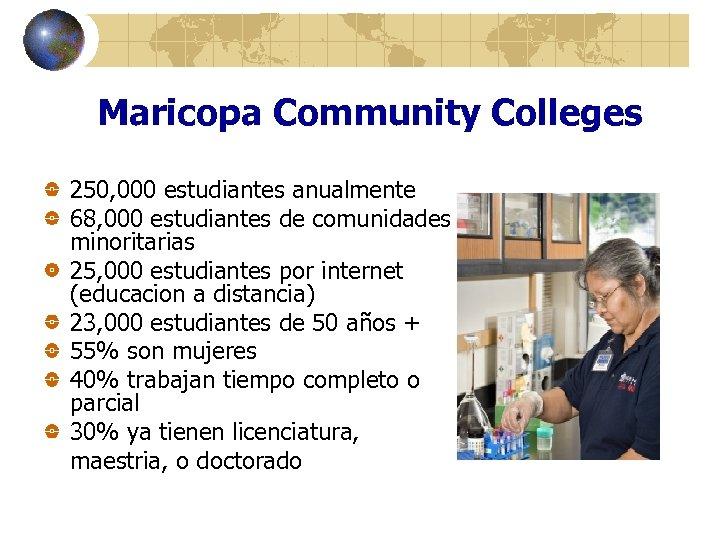 Maricopa Community Colleges 250, 000 estudiantes anualmente 68, 000 estudiantes de comunidades minoritarias 25,