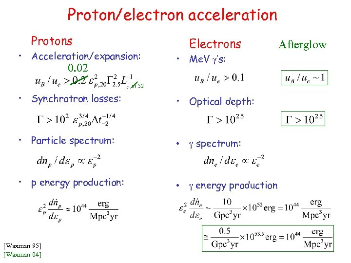 Proton/electron acceleration Protons • Acceleration/expansion: 0. 02 Electrons • Me. V g's: 52 •