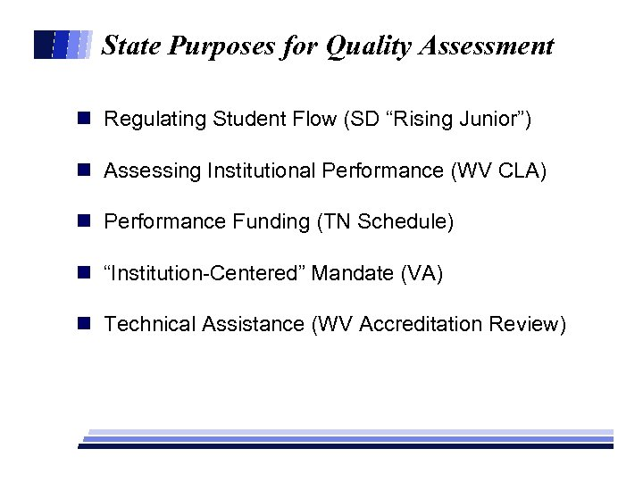 "State Purposes for Quality Assessment n Regulating Student Flow (SD ""Rising Junior"") n Assessing"