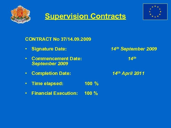 Supervision Contracts CONTRACT No 37/14. 09. 2009 • Signature Date: 14 th September 2009