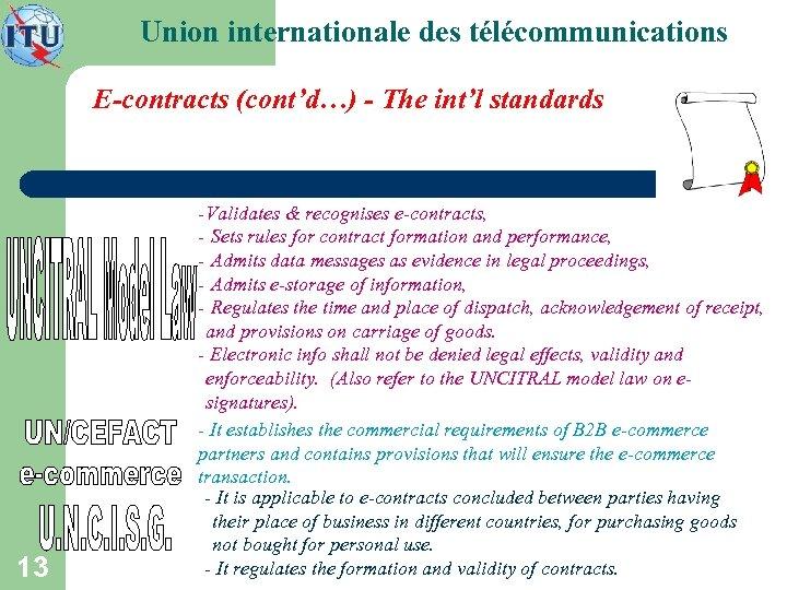 Union internationale des télécommunications E-contracts (cont'd…) - The int'l standards 13 - Validates &