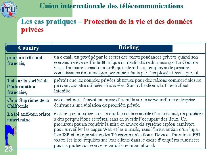 Union internationale des télécommunications Les cas pratiques – Protection de la vie et des