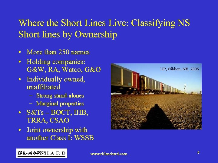 Where the Short Lines Live: Classifying NS Short lines by Ownership • More than