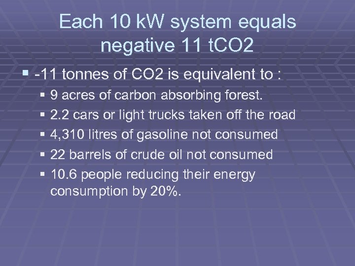 Each 10 k. W system equals negative 11 t. CO 2 § -11 tonnes