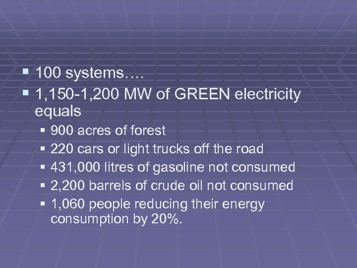§ 100 systems…. § 1, 150 -1, 200 MW of GREEN electricity equals §