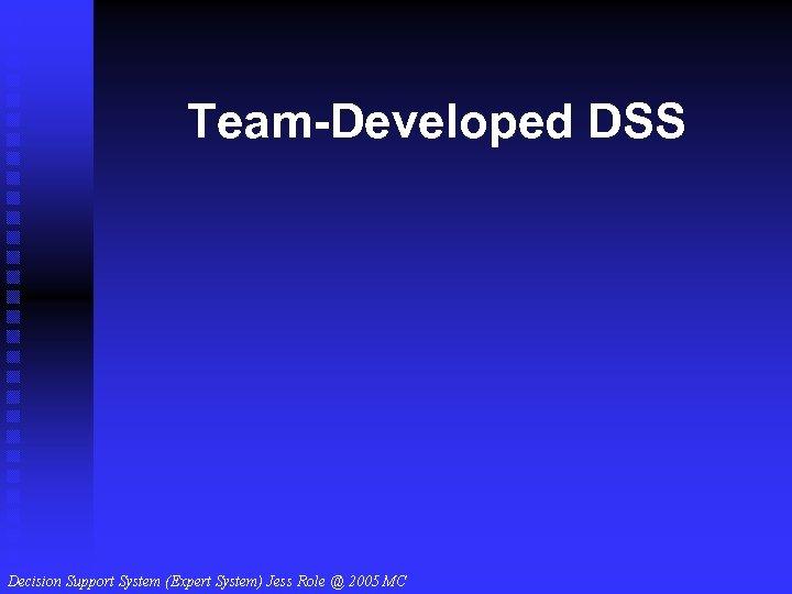 Team-Developed DSS