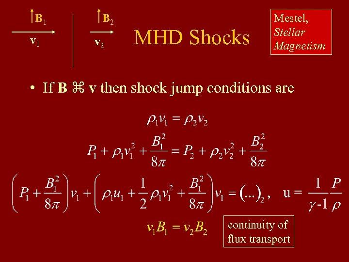 B 1 v 1 B 2 v 2 MHD Shocks Mestel, Stellar Magnetism •