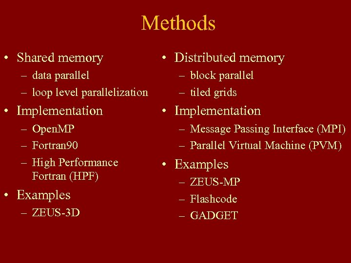 Methods • Shared memory – data parallel – loop level parallelization • Implementation –
