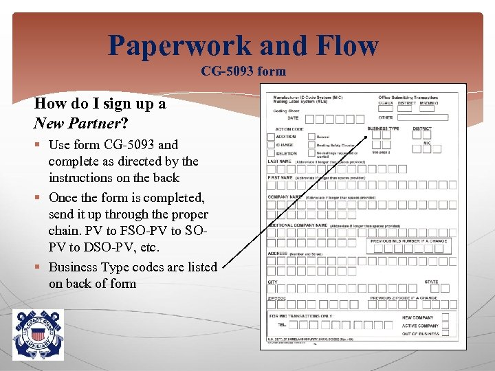 Paperwork and Flow CG-5093 form How do I sign up a New Partner? §