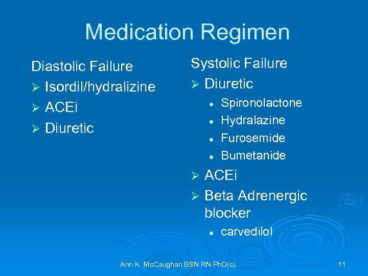 Medication Regimen Diastolic Failure Ø Isordil/hydralizine Ø ACEi Ø Diuretic Systolic Failure Ø Diuretic