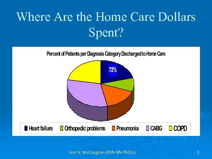 Where Are the Home Care Dollars Spent? Ann K. Mc. Caughan BSN RN Ph.