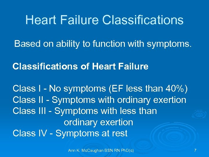 Heart Failure Classifications Based on ability to function with symptoms. Classifications of Heart Failure