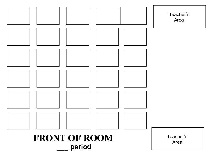 Teacher's Area FRONT OF ROOM ___ period Teacher's Area