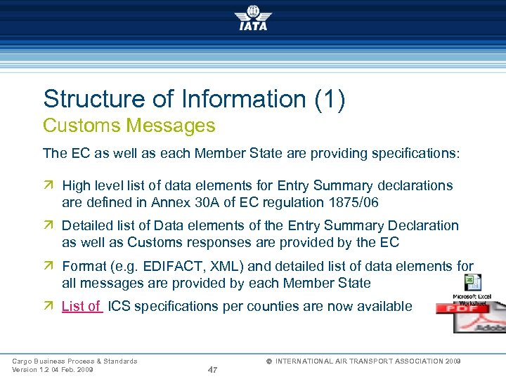 Structure of Information (1) Customs Messages The EC as well as each Member State