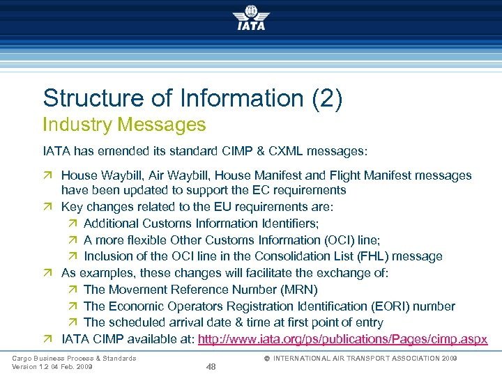 Structure of Information (2) Industry Messages IATA has emended its standard CIMP & CXML