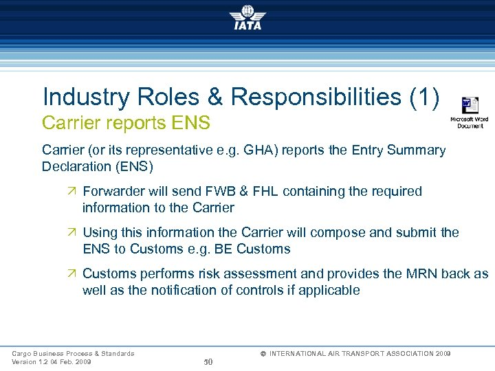 Industry Roles & Responsibilities (1) Carrier reports ENS Carrier (or its representative e. g.