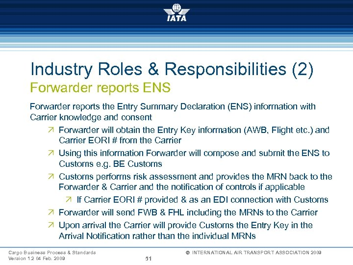 Industry Roles & Responsibilities (2) Forwarder reports ENS Forwarder reports the Entry Summary Declaration