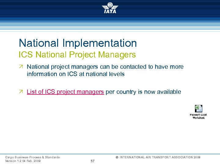 National Implementation ICS National Project Managers Ö National project managers can be contacted to