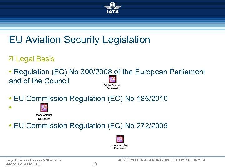 EU Aviation Security Legislation ä Legal Basis • Regulation (EC) No 300/2008 of the