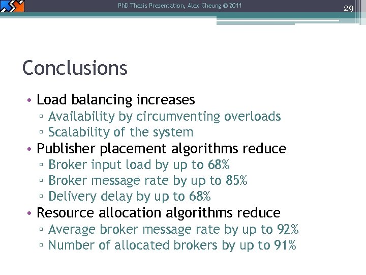 Ph. D Thesis Presentation, Alex Cheung © 2011 Conclusions • Load balancing increases ▫