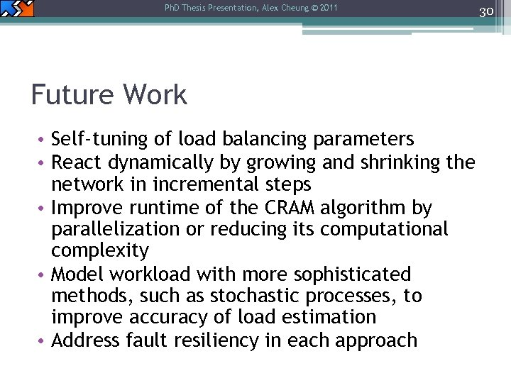 Ph. D Thesis Presentation, Alex Cheung © 2011 Future Work • Self-tuning of load