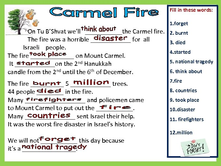 Fill in these words: 1. forget On Tu B'Shvat we'll ______the Carmel fire. The