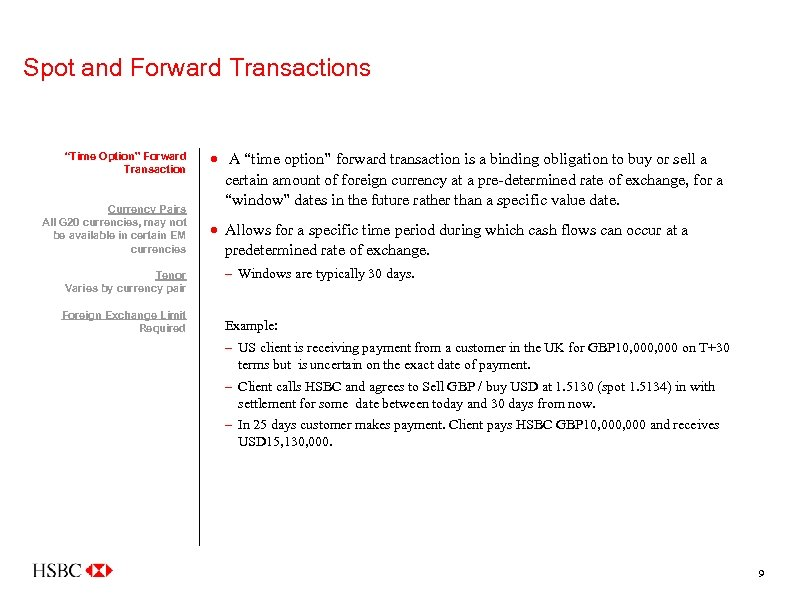 """Spot and Forward Transactions """"Time Option"""" Forward Transaction Currency Pairs All G 20 currencies,"""