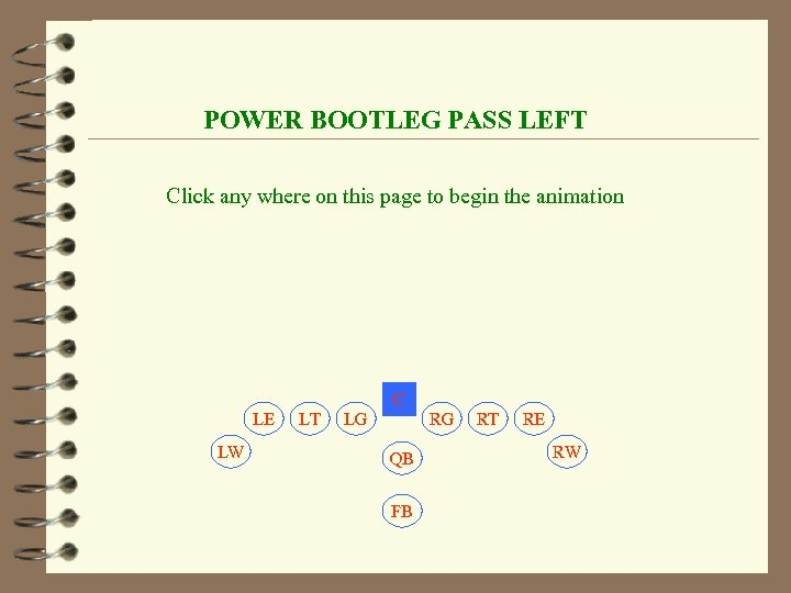 POWER BOOTLEG PASS LEFT Click any where on this page to begin the animation
