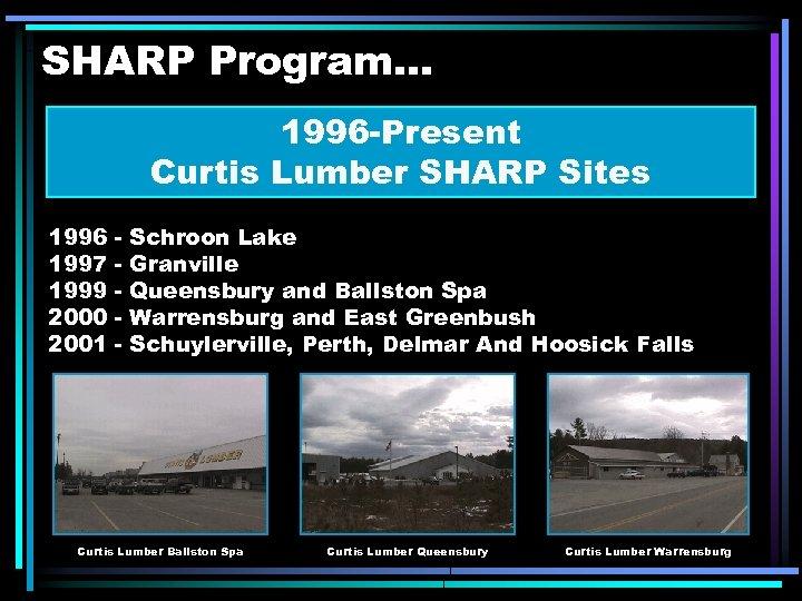 SHARP Program. . . 1996 -Present Curtis Lumber SHARP Sites 1996 1997 1999 2000