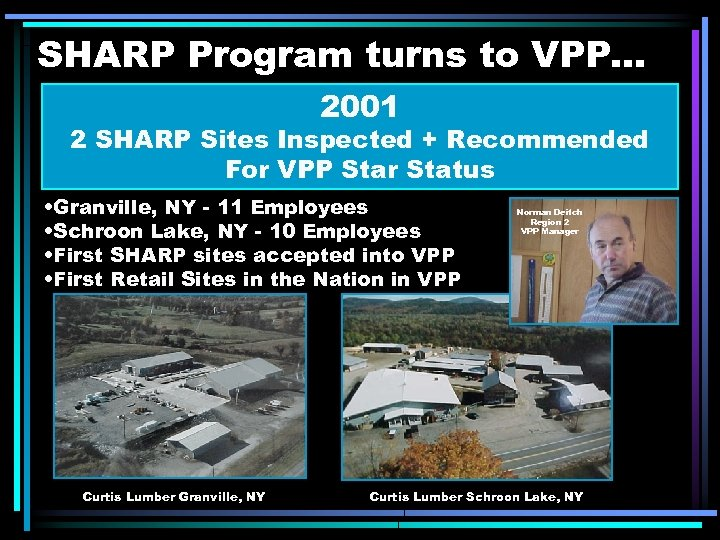 SHARP Program turns to VPP. . . 2001 2 SHARP Sites Inspected + Recommended