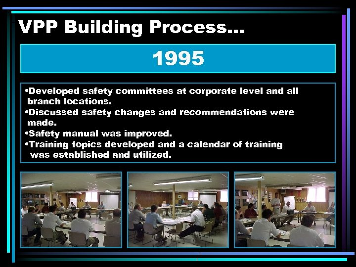 VPP Building Process. . . 1995 • Developed safety committees at corporate level and