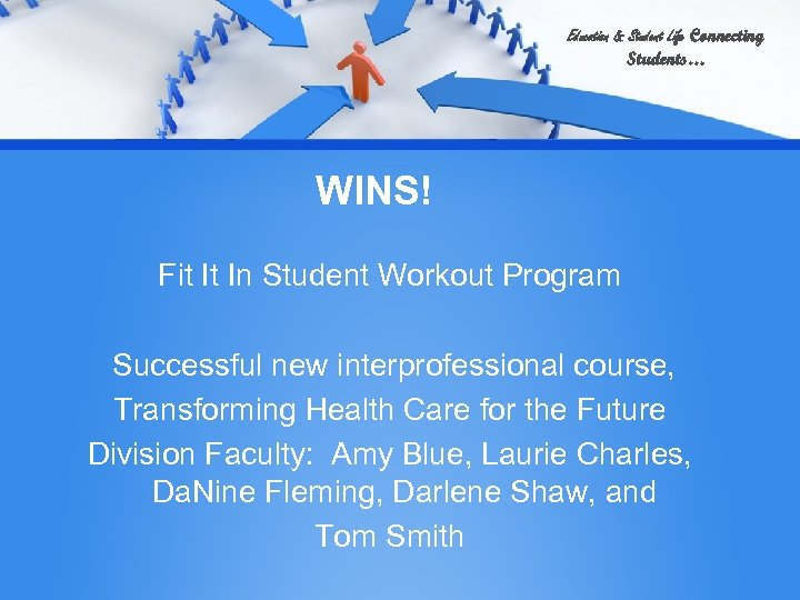 Education & Student Life Connecting Students… WINS! Fit It In Student Workout Program Successful
