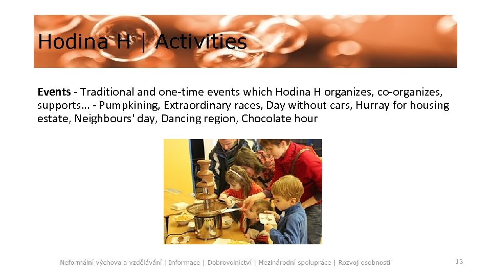 Hodina H   Activities Events - Traditional and one-time events which Hodina H organizes,