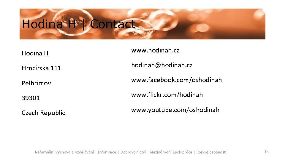 Hodina H   Contact Hodina H www. hodinah. cz Hrncirska 111 hodinah@hodinah. cz Pelhrimov