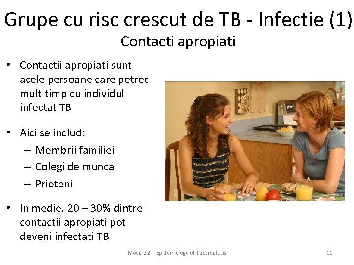 Grupe cu risc crescut de TB - Infectie (1) Contacti apropiati • Contactii apropiati