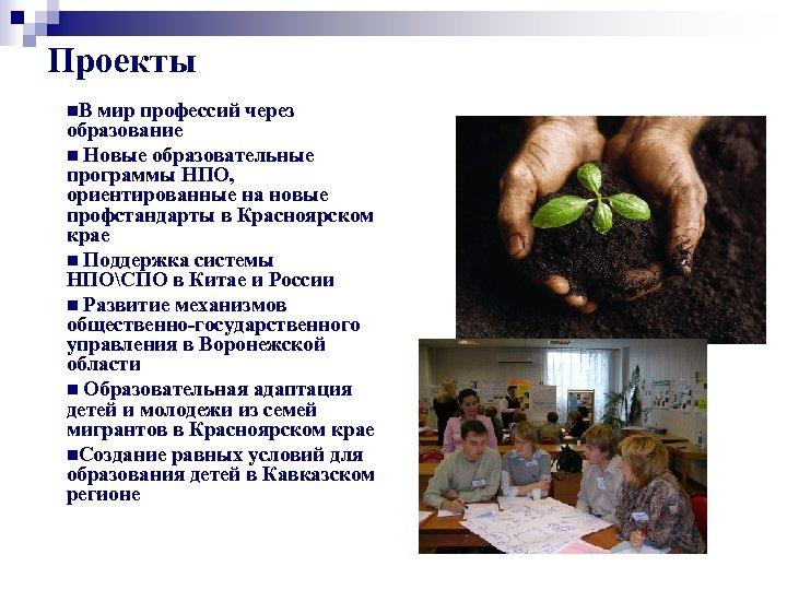 Проекты n. В мир профессий через образование n Новые образовательные программы НПО, ориентированные на