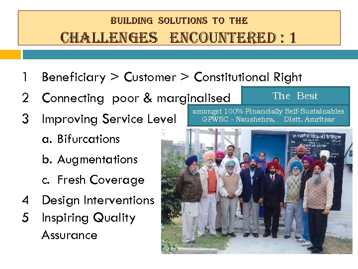 building solutions to the challenges encountered : 1 1 Beneficiary > Customer > Constitutional