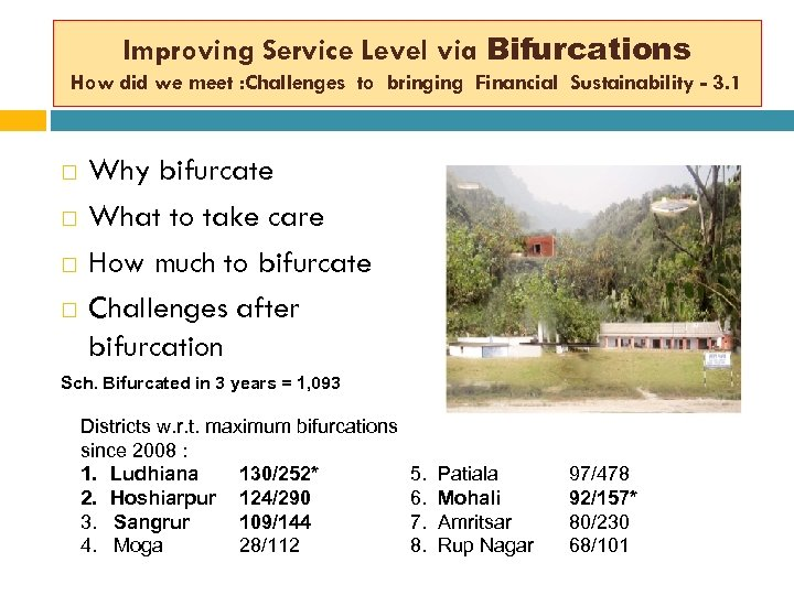 Improving Service Level via Bifurcations How did we meet : Challenges to bringing Financial