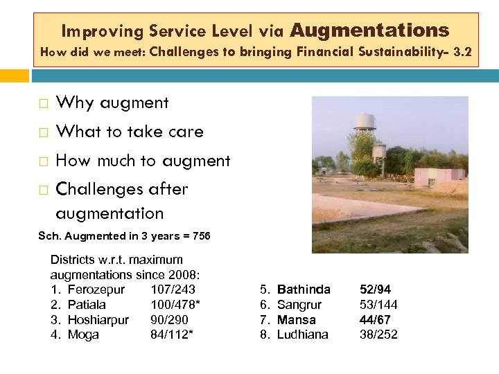 Improving Service Level via Augmentations How did we meet: Challenges to bringing Financial Sustainability-