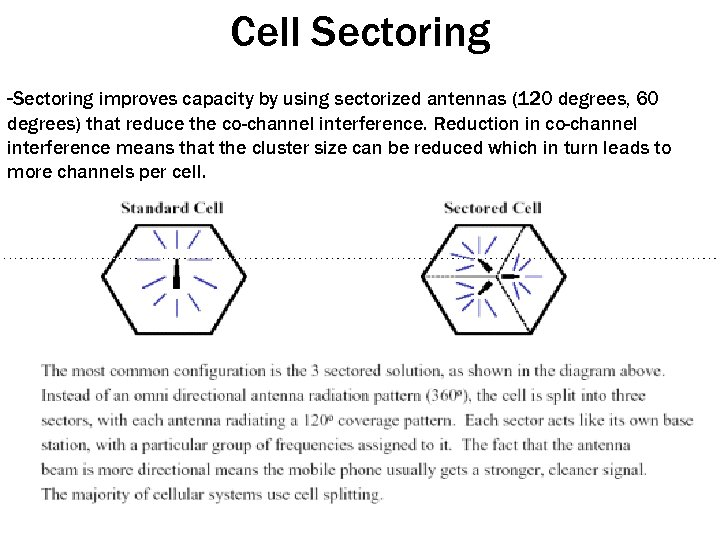 Cell Sectoring -Sectoring improves capacity by using sectorized antennas (120 degrees, 60 degrees) that