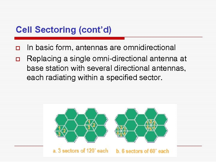 Cell Sectoring (cont'd) o o In basic form, antennas are omnidirectional Replacing a single