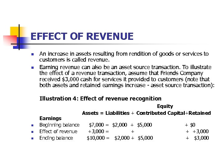 EFFECT OF REVENUE n n An increase in assets resulting from rendition of goods